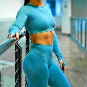 Women Seamless Yoga Sets High Waist Gym Mesh Leggings Shirts Suit Long Sleeve