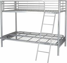 Tesco Mika Single High Sleeper With Small Double Futon Bunk Metal Bed Frame Silver