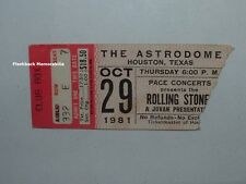 ROLLING STONES 1981 Concert Ticket Stub HOUSTON Astrodome RARE Mick Jagger RED