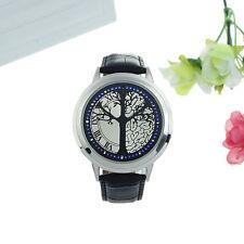 LED Mujer Reloj De Plata Negro Árbol Árbol de la Vida polipiel tendencia nuevo