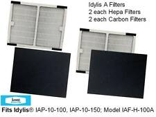 2 PACK Idylis A HEPA + 2 CARBON filters~ IAP-10-100, IAP-10-150~Model IAF-H-100A