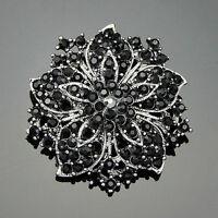 Ac036-A Vintage Wedding Black Rhinestone Crystals Bouquet Flower Brooch Pins
