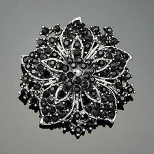 Ac036-A Vintage Wedding Black Rhinestone Crystals Bouquet Flower Brooch Pins
