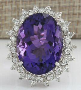 19.85 Carat Natural Amethyst 14K Solid White Gold Luxury Diamond Ring