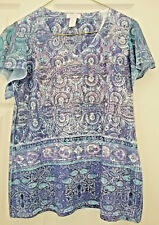 Chico's Flutter Sleeve Top Shirt Womens Purple Size 0 Small 6 - 8 Jewels Boho