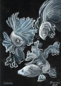original drawing A4 123PK art by samovar Pastel modern animal fishes Signed