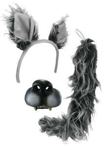 Big Bad Wolf Ears Tail Mini Nose Mask Werewolf Animal Wolfman Costume Kit Set