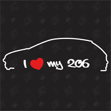 I love my Peugeot 206 Tuning Sticker,Autocollant,Voiture Ventilateur étiquette