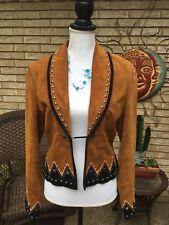CRIPPLE CREEK Women's Medium 100% Brown Suede Leather JACKET w/Sequins