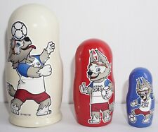 2018 FIFA WORLD CUP RUSSIA! MATRYOSHKA 3PCS 10 CM. LINDEN WOOD. ZABIVAKA MASCOT