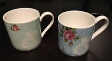 Royal Albert Set Of 2 Polka Blue Polka Rose Blue Green Pink Mugs