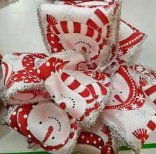 2mts x 63MM luxury Wide Edge Glitter Silver Snowman Christmas ribbon  DIY Party