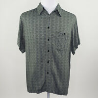 Marc Edwards Men's Green Gray Diamond Luxe Rayon Button Up Shirt Size Large L
