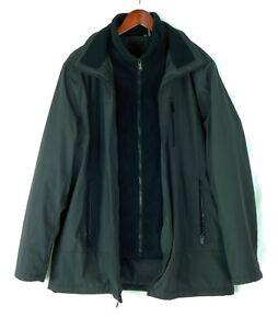 Calvin Klein Men's Large Black Car Coat Inner Zip Up Bib 100% Polyester NICE!