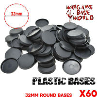 60pcs 32mm Round plastic Bases Model For Games for Miniatures Figures wargame