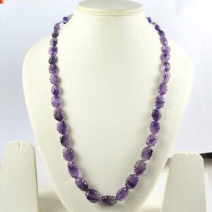 250 Ct+ Natural Certified Purple Amethyst Necklace Leaf Carved Gemstone 12-22 Mm