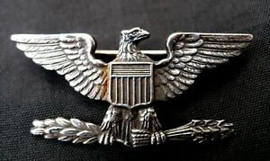 US ARMY WW2 STERLING SILVER UNITED STATES ARMY FULL COLONEL'S COLLAR BADGE PIN.