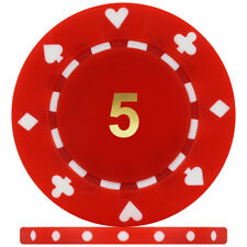 High Quality Suited Numbered 12g Poker Chips - Red 5 (Roll of 25)