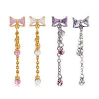 Crystal Bowknot Bar Belly Ring Gold Silver Body Piercing Button Navel Jewelry