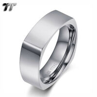 TT 7mm Silver Stainless Steel Square Wedding comfortable fit Band Ring (R275S)