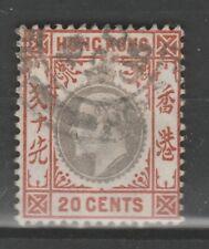 1906 HONG KONG 20c Slate and Chestnut KEVII VFU SG 83a