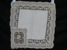 Argentella Style Lace Satin Stitch Rose Vintage Wedding Handkerchief/Hankie