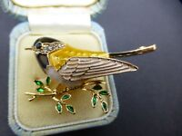 YELLOW BLACK ENAMEL CLEAR RHINESTONE DIAMANTE BIRD BROOCH PIN VINTAGE STYLE
