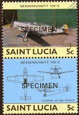 Luftwaffe MESSERSCHMITT Bf.109 WWII Aircraft Stamps (1985 St Lucia Specimen O/P)