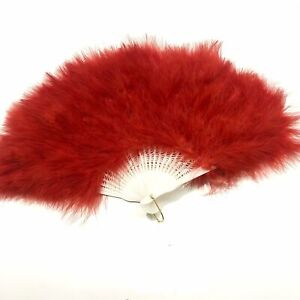 Marabou Large Deluxe Dainty Feather Fan -  Red (Style 1)