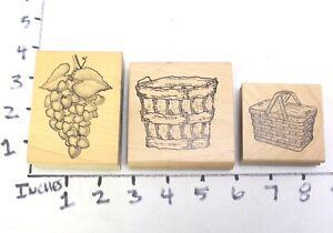 Wooden RUBBER STAMP Block Lot Grapes Harvest Basket Picnic Wicker Basket