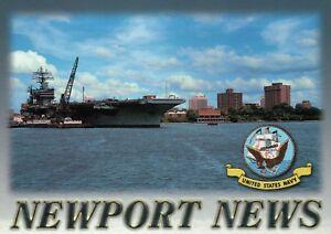 Newport News Virginia, Skyline & Aircraft Carrier, United States Navy - Postcard