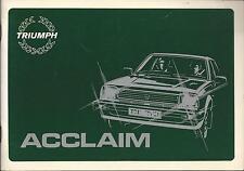 TRIUMPH ACCLAIM Betriebsanleitung 1981 Bedienungsanleitung Handbuch Bordbuch BA