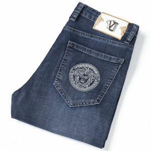 Men's 2021 New Versace Jeans Stretch Slim Fit Skinny Denim Trousers Pants