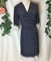 NWT DAVID LAWRENCE Navy Blue & White Bogna Tile Geo Wrap Dress - Small
