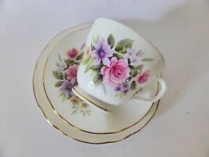 Vintage Duchess Bone China Trio, Pretty Pink Floral Tea Cup, Saucer + Cake Plate