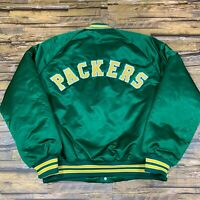 VTG ChalkLine NFL Green Bay Packers Spell Out Satin Jacket Mens L Double Sided