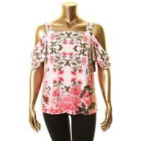 INC NEW Women's White Cold Shoulder Ivy Flowers Print Blouse Shirt Top XXL TEDO