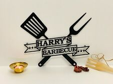 Personalized BBQ Grill Name Sign Custom Metal Wall Art Barbecue Decor Outdoor