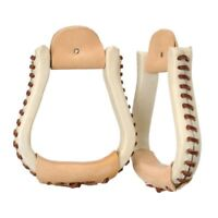 "Tough-1 Royal King Laced Visalia Stirrups with 3"" Neck Rawhide Covered"