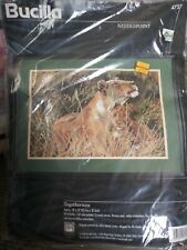 "Vtg 1996 Bucilla: Togetherness Lion & Cub Needlepoint Kit 4727 18"" x 12"" Nip"