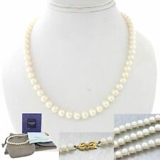 "Mikimoto Designer 18k Yellow Gold 6-6.5mm Pearl Strand 16"" Necklace"