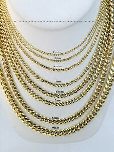 """10k Yellow Gold Miami Cuban link Necklace 2MM-9MM Necklace & bracelet 7-30"""" REAL"""