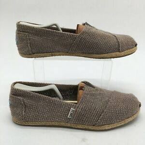 Toms Mens 10 Casual Perforated Slip On Espadrille Shoes Brown Canvas Alpargata