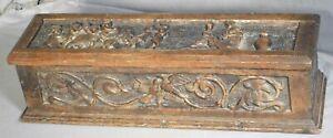 Antique Jacobean Baroque Carved Oak Coffer Casket Box Putti Nude Female LoveBird