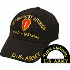 U.S. ARMY 25th Infantry DIV Tropic Lightning Embroidered Shadow Black Cap Hat EE