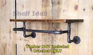 Rustic Industrial Pipe Towel Rack Rail Bar Holder Shelf Shelving Silver BS019/29
