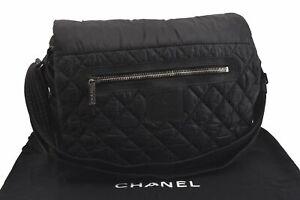 Authentic CHANEL Nylon Matelasse Quilt Shoulder Cross Body Bag Black CC C3843