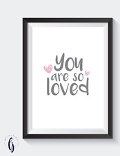 Little girls bedroom. home decor bedroom nursery print - you are so loved. A4