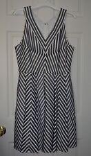 NWT $340 REISS Beverly Black White Chevron Fit Flare Dress Size US 10 / UK 14