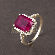 Genuine Solid 14K Yellow God 4.2CT Blood Ruby Natural Diamond Wedding Ring